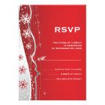 Red, silver grey snowflake winter wedding RSVP Custom Invite