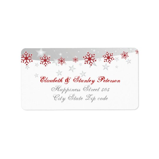 Red silver grey white snowflake wedding label