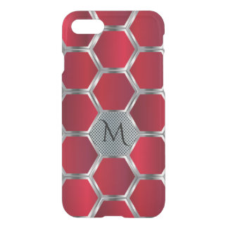 Red & Silver Octagonal Geometric Pattern GR2 iPhone 7 Case