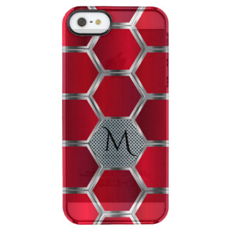 Red & Silver Octagonal Geometric Pattern GR5 Clear iPhone SE/5/5s Case