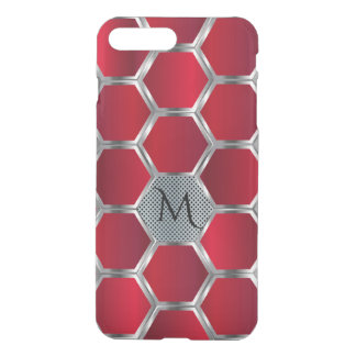 Red & Silver Octagonal Geometric Pattern iPhone 7 Plus Case