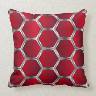 Red & Silver Octagons Pattern Throw Pillow