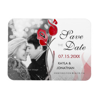 Red & Silver Save the Date Magnets | Fire & Ice