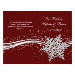 red Silver Snowflakes wedding programs folded Flyer Design