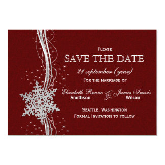 red Silver Snowflakes Winter  save the date Card