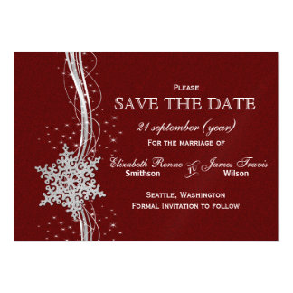 red Silver Snowflakes Winter  save the date Magnetic Invitations