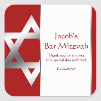 Red Silver Star of David Bar Mitzvah Favor Square Sticker