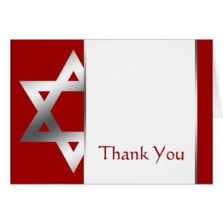 Red Silver Star of David Bar Mitzvah Thank You Card