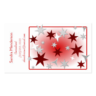 Red Silver Stars Business Card