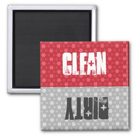 Red Silver Stars Clean Dirty Dishwasher C302 Magnet