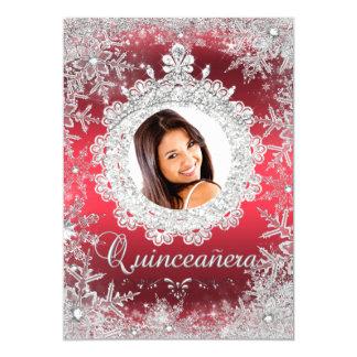 "Red Silver Tiara Snowflake Sparkle Quinceanera 5"" X 7"" Invitation Card"
