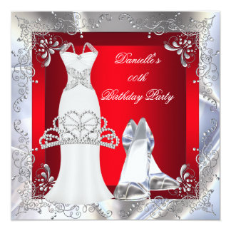 "Red Silver White Dress High Heel Shoes Tiara 5.25"" Square Invitation Card"