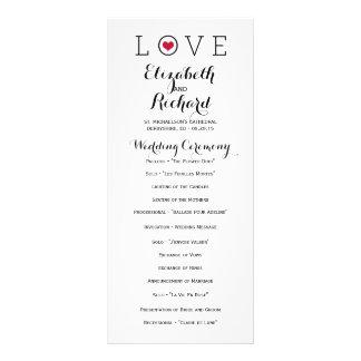 Red Simple Love Wedding Programs Rack Card