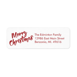 Red Simple Merry Christmas Return Address Label