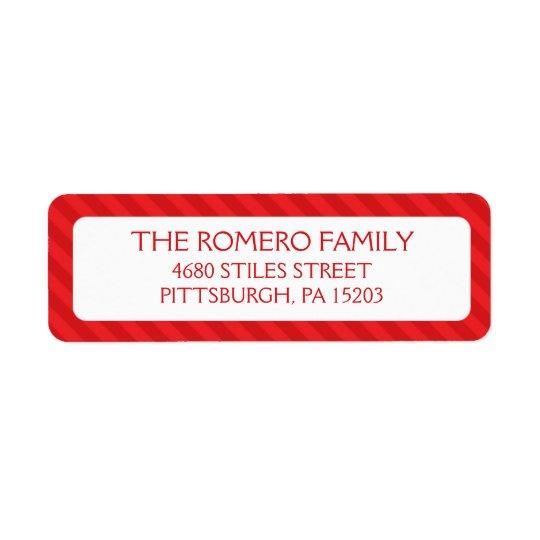 Red Simple Stripes Custom Personalised Return Address Label