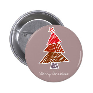 Red Sketchy Christmas Tree Button
