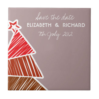 Red Sketchy Christmas Tree Save the date Tile