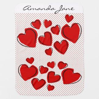 Red Sketchy Hearts Design Baby Blanket