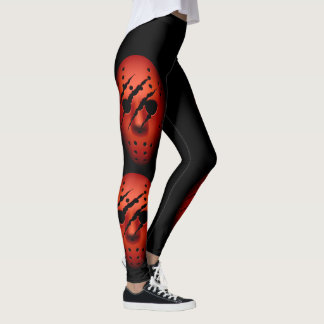 Red Ski Mask with Claw Marks Leggings