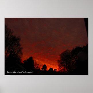 Red skies at dawn poster