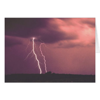 Red Skies with Lightning Card