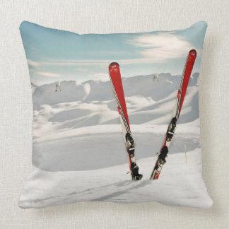 Red Skis Throw Cushion