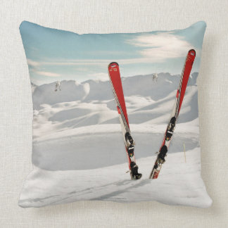 Red Skis Throw Pillow
