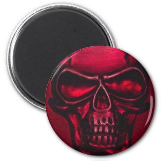RED SKULL 6 CM ROUND MAGNET