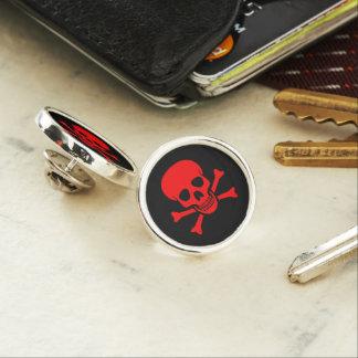 Red Skull and Crossbones Lapel Pin
