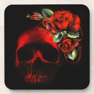 Red skull and roses coaster
