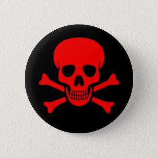Red Skull & Crossbones Button