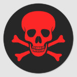 Red Skull & Crossbones Sticker