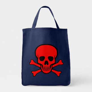 Red Skull & Crossbones Tote Bag