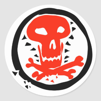 red skull graphic with black circle round sticker