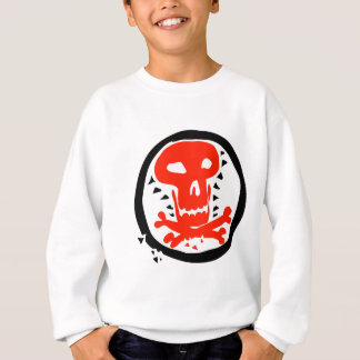 red skull graphic with black circle sweatshirt