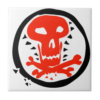 red skull graphic with black circle tile