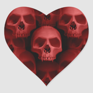 Red skull heart heart sticker