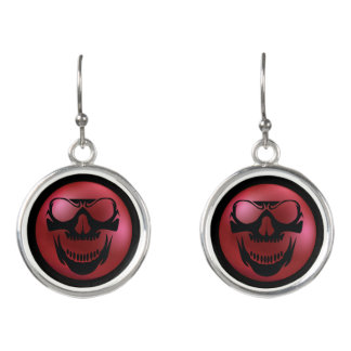 Red Skull Horror Earrings - Evil Skull Jewelry
