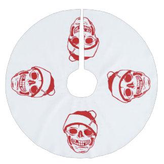 Red Skull In Santa Hat Brushed Polyester Tree Skirt