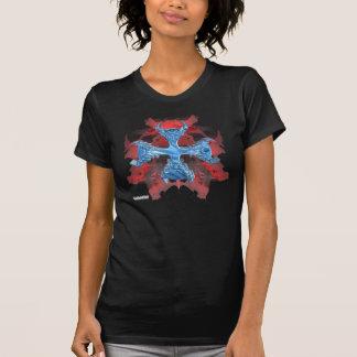 Red Skull Iron Cross Ladies Twofer Shirt