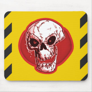 red skull on yellow and black stripes background mouse pad