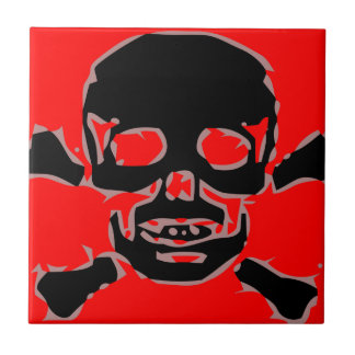 Red skull small square tile