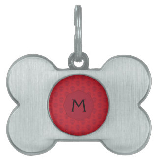 Red Skulls And Butterflies Pattern With Initial Pet ID Tag