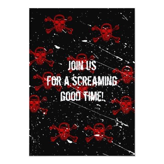 Red Skulls Goth Halloween Invitation