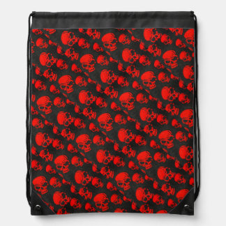 Red Skulls on Black Drawstring Bag