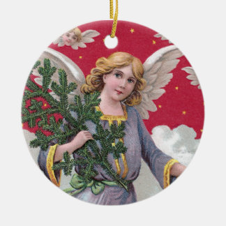 Red Sky Angel Carrying Pine Bough in the Clouds Ornaments
