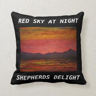 Red sky at night throw pillows