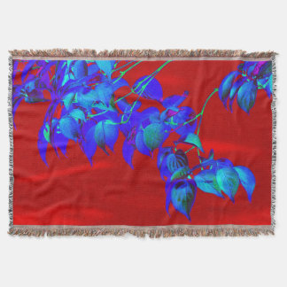 Red Sky Blue Leaves Throw Blanket