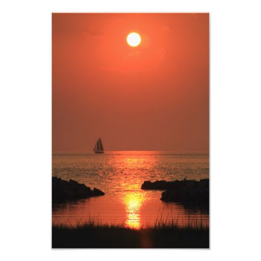 Red Sky Sunset Sail Photographic Print