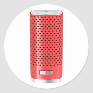 Red smart speaker classic round sticker